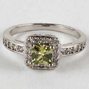 Jewelry - Princess Cut Halo Peridot Engagement Style Ring